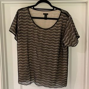 J. Crew black and cream lacy short sleeved top